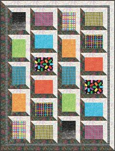 = free pattern = Shadow Box quilt by Stitched Together Studios for Benartex. Quilt Inspiration: Free Pattern Day: Attic Windows Quilts.
