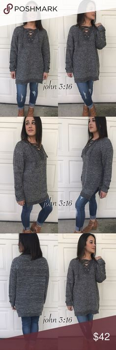 92f7479ffe Tunic sweaters All tied up lace up front sweaters has side slits and  details at cuff
