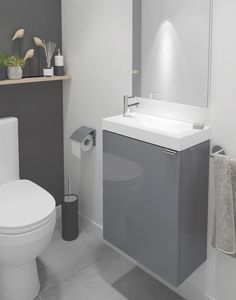 If you have a small bathroom then B&Q's Imandra collection is the ideal solution. This grey gloss single vanity unit is both compact and chic. To help you design your own dream bathroom our online Bathroom Planner has all the tools! White Vanity Unit, Single Vanity Units, Small Vanity Unit, Cloakroom Vanity Unit, Cloakroom Ideas, Bathroom Design Small, Bathroom Interior Design, Modern Bathroom, Grey Bathroom Furniture