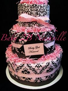 Girls Diaper Cake Pink and Brown Damask - http://www.babyshower-decorations.com/girls-diaper-cake-pink-and-brown-damask.html