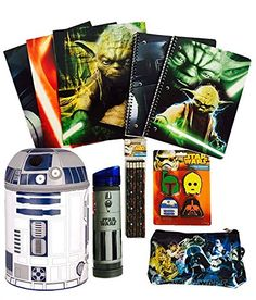 Star Wars Lights n Sounds R2d2 Lunch Box Bundle with Jedi Lightsaber Tritan Water Bottle and School Supplies 10 Pc -- Click image for more details.