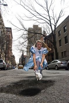 Photographers Find Creative Ways to Deal With Irritating Potholes - Alice in Wonderland, 30th Street, NYC.