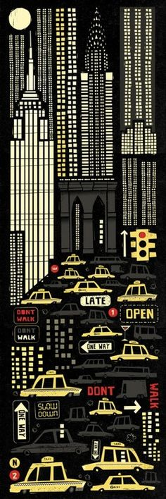 """""""There is something in the New York air that makes sleep useless."""" – Simone de Beauvoir. I've just completed my new illustration simply titled 'New York' based on the wonderful quote above. I've been trying to get this piece out for a long time, until I finally felt I'd captured the excit (via Peter Donnelly – New York)"""