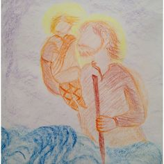 St. Christopher. Waldorf grade 2 Waldorf Curriculum, Homeschool Curriculum, Form Drawing, Painting & Drawing, Grade 2, Second Grade, Nature Story, 2nd Grades, Chalkboard Drawings