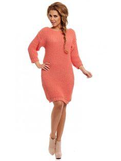 Rochie tricotata groasa corai Mirela Knitting, Casual, Sweaters, Dresses, Fashion, Tricot, Tunic, Vestidos, Moda
