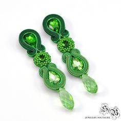 Green Long Narrow Dangle Soutache Earrings,  Soutache Earrings, Beading Earrings, Soutache jewelry , Soutache Post Earrings by SBjewelrySoutache on Etsy
