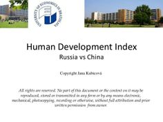Human Development Index - Russia vs China by Jana Kubicová via slideshare