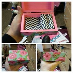 Sorority pin/badge box. A monogram would be perfect on top! This would be a great initiation gift for a little.