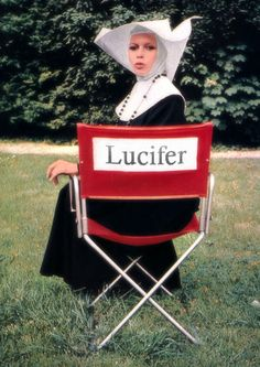 """Just keeping his seat warm?"" +†+  #Lucifer #Baphomet #devil #director #chair #nun #habit #rosary #confounded #facial #expression #nunsploitation bad ass, nun, chairs, brigitt bardotin, femm fatal, classic hollywood, lucif, photo, bad religion"