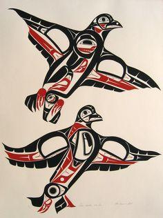 Two Grouse in Flight ROBERT EDWARD SEBASTIAN (White Wolf Clan, Hazelton, B.C. 1952 - )