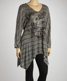Take a look at this Gray Floral Burnout Sidetail Top - Plus by Yummy on #zulily today!