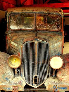 old and one eyed - an antique 1930 Renault beer delivery truck, European Beer Museum, Stenay, Lorraine, France
