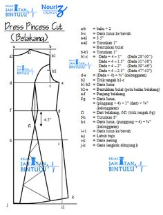 Tutorial, Tips, Hobi & Jahitan: Nota Pola Dress Princess Cut