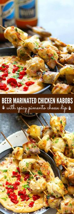 Incredibly juicy and flavorful beer marinated chicken kabobs are quick to throw on the grill for any cookout! Paired with a spicy pimento cheese dip, these chicken kabobs will quickly become a cookout staple. Outdoor Cooking Recipes, Grilling Recipes, Slow Cooker Recipes, Healthy Chicken Recipes, Healthy Dinner Recipes, Marinated Chicken Kabobs, Pimento Cheese, Grilled Vegetables, Appetizers
