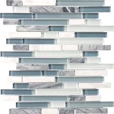 """My future backsplash tile.  Stone Solutions """"Waterfall"""".  White and gray unpolished marble and blue/gray and pale green glass.  I think I will install it vertically."""