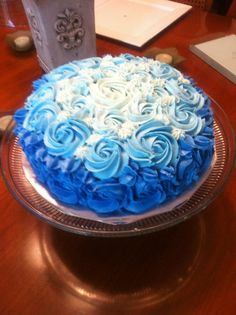 The ombre cake I made for my mom's 65th birthday.  She loves the colour blue.