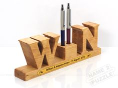 Unique Wooden 3d pen holder New idea for your office and office of your partners ... www.NAME-2-PUZZLe.com Pencil Holder, Pen Holders, Wooden Pen Holder, 3d Pen, Woods, Puzzle, Store, Gallery, Unique