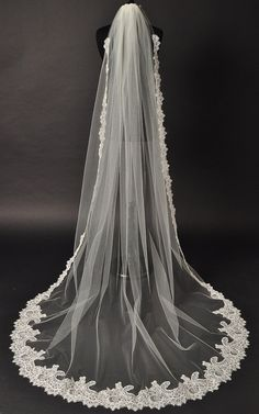 Cathedral Lace Veil Alencon lace bridal by CoutureBrideBoutique, $255.00