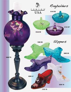 Fenton Art Glass Company Fenton Lamps, Fenton Glassware, Antique Glassware, Cut Glass, Glass Art, Glass Shoes, Viking Glass, Vaseline Glass, Glass Company