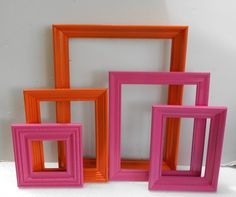 Picture Frame Collection - Vintage Wood Open Frame Set - Painted Bright Pink And Orange - Gallery Wall - Modern Chic - Baby Child Nursery on Etsy, $45.00