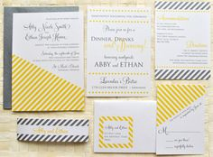 Nyla Stripe Wedding Invitation Suite with Belly Band - White, Mustard Yellow and Charcoal, Customizable