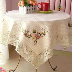 Decorative round table cloth for wedding decoration Ribbon Embroidery Tea Table Cloth Art Rural Round Table Cloth Cover Coffee Table Cloth, Dining Table Cloth, Table Linens, Silk Ribbon Embroidery, Hand Embroidery, Round Table Covers, Wedding Tablecloths, Lace Tablecloths, Floral Tablecloth