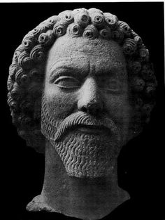 Parthian sculptured head from Hatra,Iraq. The artistic style is interesting, it is unmistakably eastern but there is also a Hellenic influence in the artist's style and perception of the subject.