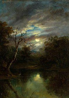 Moonlit Landscape - John Moore of Ipswich (1820–1902)