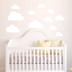 We have stickers for your living room, children's wall stickers, nursery stickers and bathroom wall stickers (these are fully waterproof and steam resistant). Pastel Nursery, Clouds Nursery, Nursery Room, Baby Room, Nursery Decor, Child's Room, Nursery Ideas, Bedroom Ideas, Nursery Wall Stickers