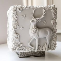 Stunning square cube wedding cake with deer design - rustic, outdoor, garden or enchanted forest wedding idea
