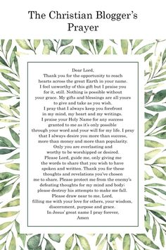 A Blogger's Prayer – Free Printable Poster