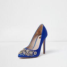 Blue satin diamante embellished court shoes - shoes - shoes / boots - women