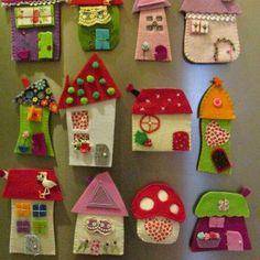 House ornament, Set of eight, Felt House decoration , Decoration for wallâ? Kids Crafts, Hobbies And Crafts, Diy And Crafts, Craft Projects, Arts And Crafts, Crafts With Felt, Felt Embroidery, Felt Applique, Felt Christmas Ornaments
