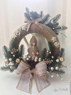 Купить Венок в эко-стиле Рождество Новый год - венок новогодний, венок, венок на дверь