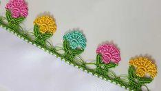 Kolay Renkli Tığ Oyası Saree Kuchu Designs, Creative Embroidery, Crochet Bebe, Tassels, Hair Accessories, Knitting, Flowers, Pattern, Handmade