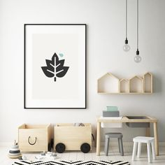 The Leaf is printed on high-quality paper. Simply add a frame or magnetic sticks. Leaf Prints, Kids Bedroom, Leaves, Paper, Frame, Interior, Home Decor, Picture Frame, Decoration Home