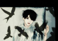 """retrolightsxxx: """"#WINGS - BEGIN #JUNGKOOK (BTS Fanart) The realms of day and night. Two different worlds coming from two opposite poles mingled during this time. """""""