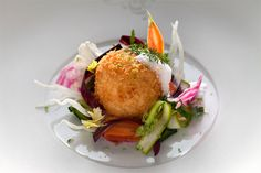 Nid de légumes croquants Risotto croustillant de riz Arborio au coeur   coulant de citron vert #recette #recipe #gastronomie #gastronomy