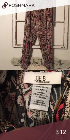 Funky tribal print baggy pants Super cute tribal print pants with zipper fly and elastic waist. Self tie belt. Taper to the ankles. Really comfy! How cute with booties?! Joe B Pants Ankle & Cropped