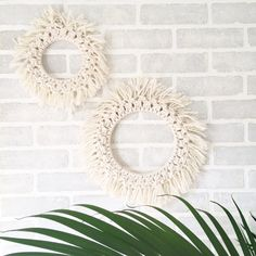 Set of 2 KMFibreArt Handmade neutral macrame wreaths, Fringey goodness for your walls! Macrame Wreath, Gorgeous and unique, If it is fringy that you seek. A set of two, Means more for you To make your walls complete. Cheesy poems aside, These KMFibreArt Macrame Wreaths are made with 100% Cotton and wood, and are now available in BLACK as well! They are great fun in a feature wall amoungst all of your cherished walledly possesions ( Ha-ha) Wall hanging A is 10x10 made with over...
