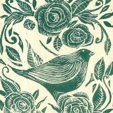 """redpenscommaredshoes: Folksy :: Buy """"Roses and Bird Lino Print-Pale Blue"""" (via margueritemoulin) very suitable for an illustration of The Nightingale and The Rose, my favourite story by Oscar Wilde. Illustrations, Illustration Art, Linoprint, Tampons, Linocut Prints, Bird Prints, Bird Art, Art Lessons, Printmaking"""