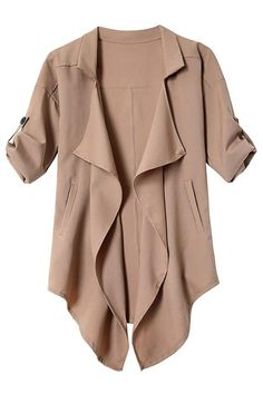 Khaki Irregular Hem Button Details Lapel Collar Trench Coat  -YOINS