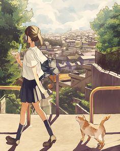 anime girl and cat Anime Backgrounds Wallpapers, Anime Scenery Wallpaper, Animes Wallpapers, Aesthetic Art, Aesthetic Anime, Anime School Girl, Japon Illustration, Manga Anime Girl, Image Manga