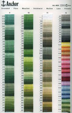 Punto croce - Schemi e Ricami gratuiti: Tabelle Colori