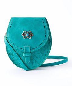 Turquoise Floral Embossed Leather Shoulder Bag