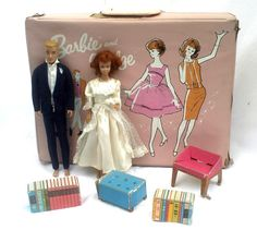 Vintage 1960s Midge Doll Ken Doll Barbie Case by CoryBeesAttic, $85.00