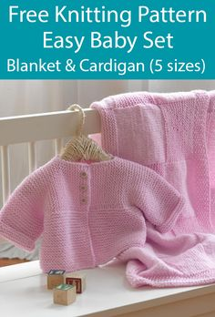 Free Knitting Pattern for Easy Baby Blanket and Cardigan Set Sizes 6 months to 3 yrs - Baby sweater patterns - Easy Baby Knitting Patterns, Baby Cardigan Knitting Pattern Free, Baby Sweater Patterns, Free Baby Blanket Patterns, Knitted Baby Cardigan, Knit Baby Sweaters, Knitted Baby Blankets, Free Knitting, Cardigan Pattern