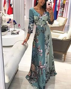 Blue X-line Dress Day Dresses Sashes Polyester Light Blue Casual Spring Maxi Summer Floral V-Neckline S M Sleeves Dress Cheap Maxi Dresses, Day Dresses, Dresses With Sleeves, Floral Maxi Dress, Chiffon Dress, Lace Dress, Dresses Elegant, Types Of Fashion Styles, Swing Dress