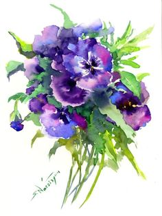 Buy Blue Pansies, Watercolour by Suren Nersisyan on Artfinder. Discover thousands of other original paintings, prints, sculptures and photography from independent artists.
