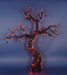 5' Lighted Spooky Black Rattan Halloween Tree with Bats Yard Art Decoration - Orange Lights